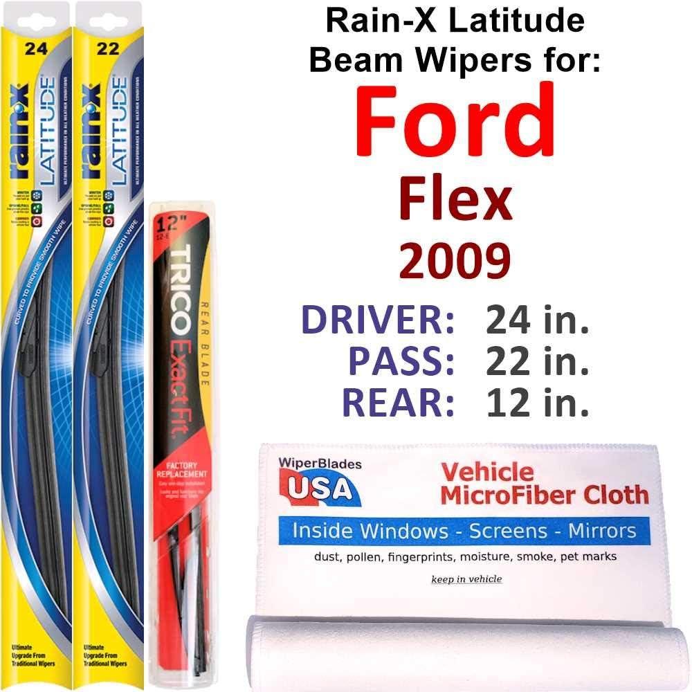 Super sale Rain-X Latitude Beam Wipers for 2009 Rear Ford Flex Luxury goods Set w