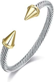 Ofashion Brass Alloy Cable Wire Bullet Cuff Bracelet