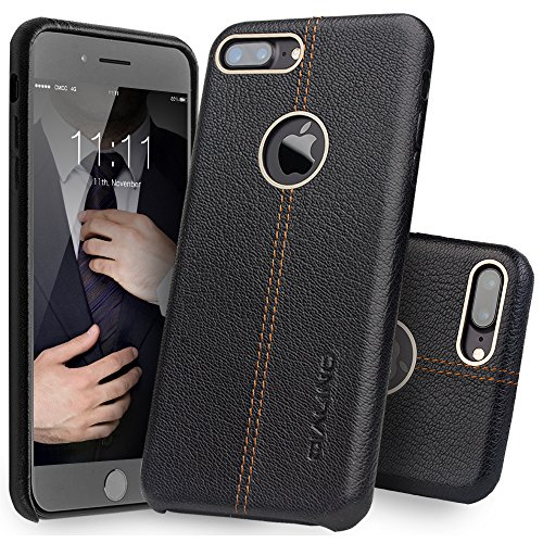 iPhone 7 Plus Case, QIALINO Stylish Genuine Leather Back Cover Protective Bumper Case for iPhone 7 Plus - Black