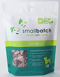 Smallbatch Pets Premium Freeze-Dried Lamb Heart Treats for Dogs and Cats, 3.5 oz, Made and Sourced in The USA, Single Ingredient, Humanely Raise Meat, No Preservatives or Anything Artificial Ever