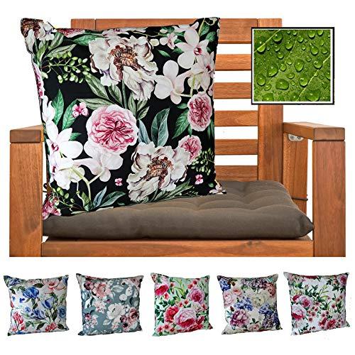 heimtexland ® Outdoorkissen Dekokissen Schmutz- und Wasserabweisend Vintage Garten Outdoor Kissen Blumen Schwarz Typ675