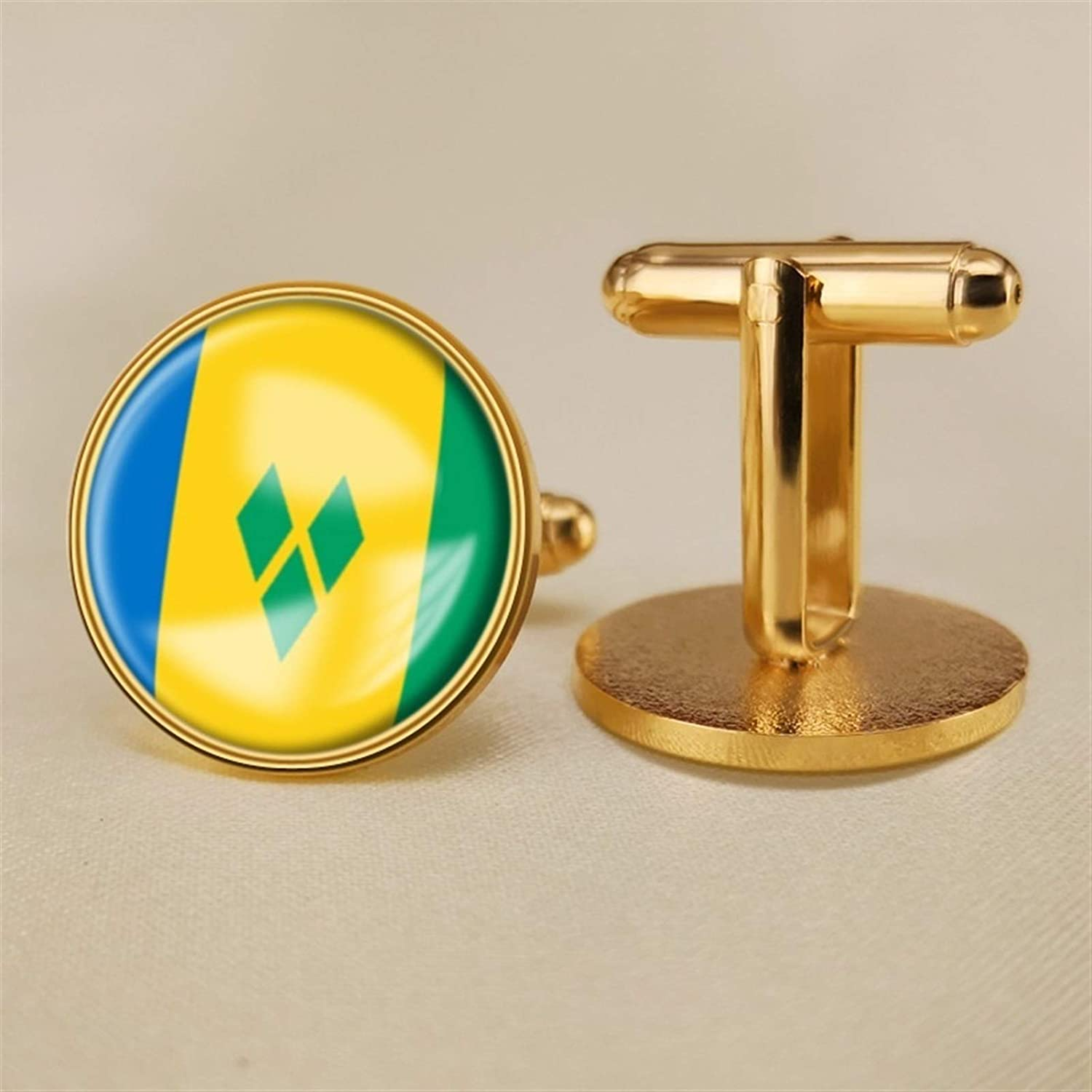 YYOBK Boys' Cuff Links,Men's Cuff Links,Shirt Studs,Sports Fan Cuff Links,Saint Vincent and The Grenadines Flag Cufflinks,Round Cufflinks, Copper 19mm (Color : Gold, Size : 19mm)