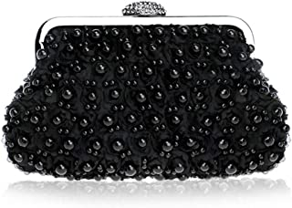 GLJJQMY Dinner Bag Fashion Ladies Party Dress Beaded Dinner/Wallet/Cosmetic Bag Evening Bags (Color : Black, Size : 23.5x13.5x4.5cm)