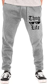 Thug Life Men's Workout Pant Funny Sweatpants with Pockets Gray