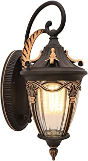 MUTANG Vintage Antique Outdoor Wall Light Lantern Shiny Black Metal Colour Clear Glass Shade in Victorian Style 1 Bulb 1xE27 60W 220V IP44 [Energy Class A++]