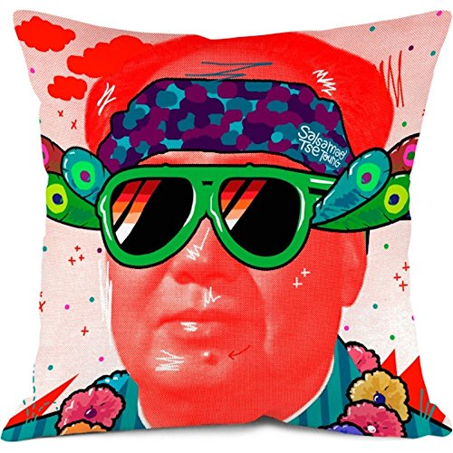 Bonjour Mon Coussin Funda de cojín Mao 35x 35cm Rojo Cierre Zip Invisible mao35
