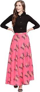 Stylum Women's Gold Print Rayon Short Shirt & Skirt Set (Balck)