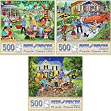 Bits and Pieces-Value Set of Three(3) 500 Piece Jigsaw Puzzles for Adults-Each Puzzle Measures 18' X 24'-500pc Backyard Barbeque, Family Car Wash, and Marshmallow Roast Jigsaws by Artist Sandy Rusinko