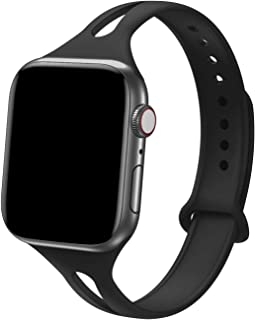 Bandiction Sport Band Compatible with Apple Watch 38mm 40mm, Soft Silicone Sport Strap Replacement Narrow Bands for iWatch Series 4, Series 3, Series 2, Series 1, Sport Edition Women Men (Black)