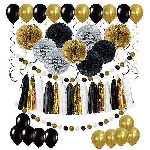 Décorations Anniversaire, 9 Pompons 15 Guirlandes Verticales 15 Tissuel Garlands 20 Ballons et 2 Dotted paper garlands en papier à pois pour anniversaire mariage baby shower - Noir
