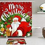PatrickOgden Juegos de Cortinas de baño con alfombras Antideslizantes, Feliz Muñeco De Nieve Feliz N...