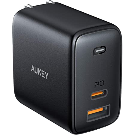 """USB C Charger, AUKEY Omnia 65W 2-Port Fast Charger for New iPhone/Macbook Pro with GaNFast Technology, PD Charger and USB C Wall Charger for Macbook Pro 13""""/15"""",iPhone 11 Pro Max,iPad Pro 2020,Switch"""