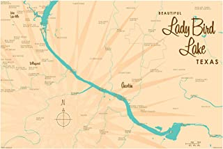 Lady Bird Lake Texas Vintage-Style Map Art Print Poster by Lakebound (24