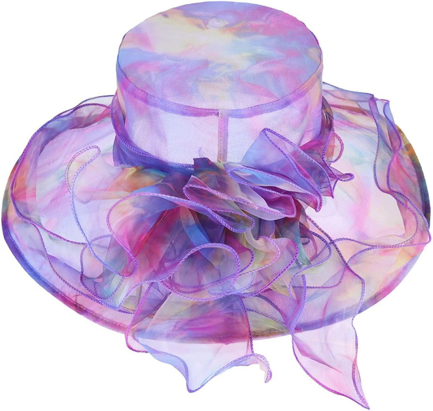 colorful House Women's Flowers Pattern Wide Brim Organza Church Hat Sun Hat