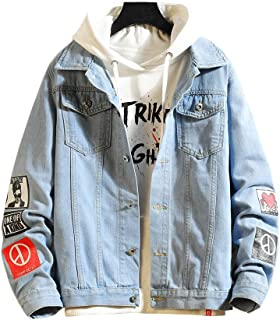 Men's Denim Distressed Jacket Casual Button Down Trucker Jacket Jean Coat