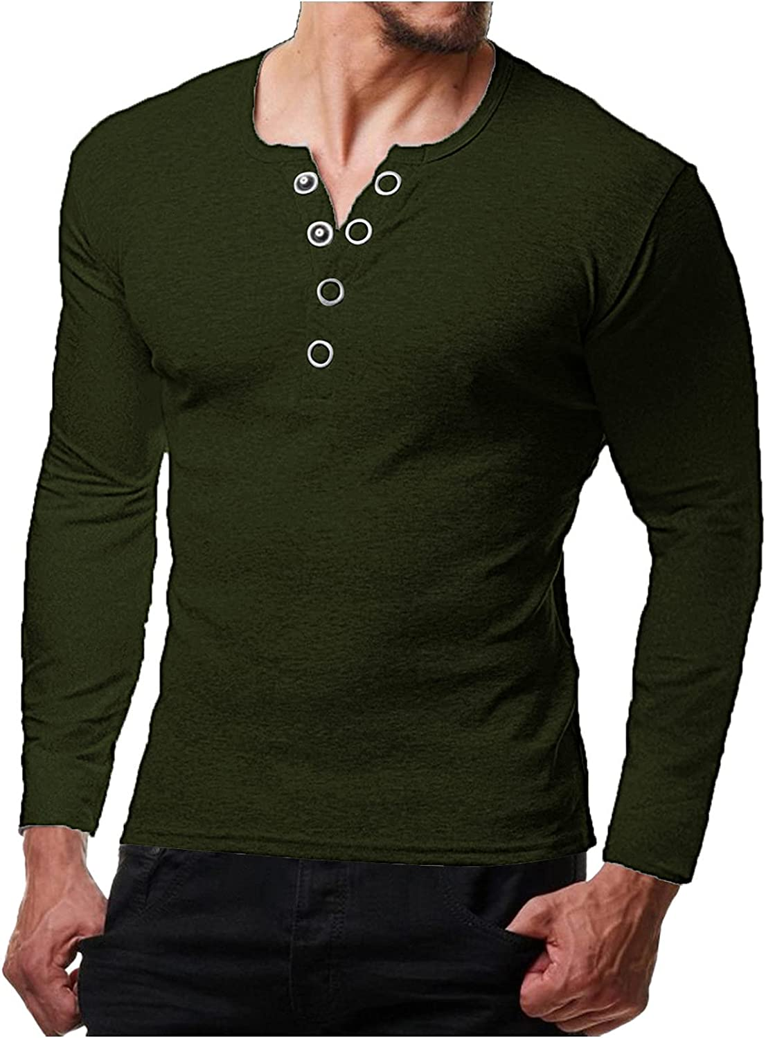 DZQUY Mens Fashion Casual Front Placket Basic Long Sleeve Henley T-Shirts Slim Fit Outdoor Gym Workout Muscle Shirts Tops