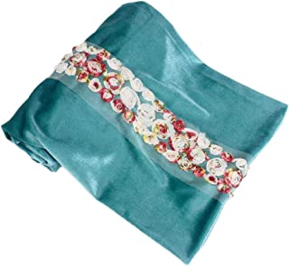 Xiang Ru Women Muslim Turban Head Wrap Scarf Long Tail Hat Hijib - Velvet Mesh Flower 170x26cm - Slouchy Baggy India Africa Bandana Headwear Cancer Chemo Cap