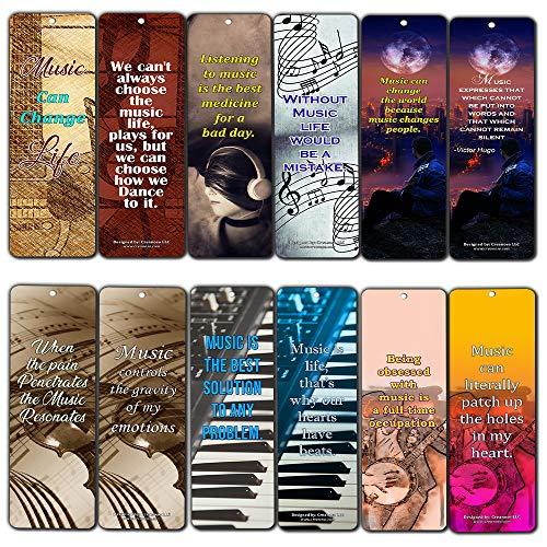 Creanoso Music Can Change Life Bladwijzers voor Musici (12-Pack) - Premium Gift Set - Inspirerend Word Gezegden Quotes voor muziekliefhebbers, gitaristen, pianisten, volwassen mannen en vrouwen - Broadway Musical Gifts