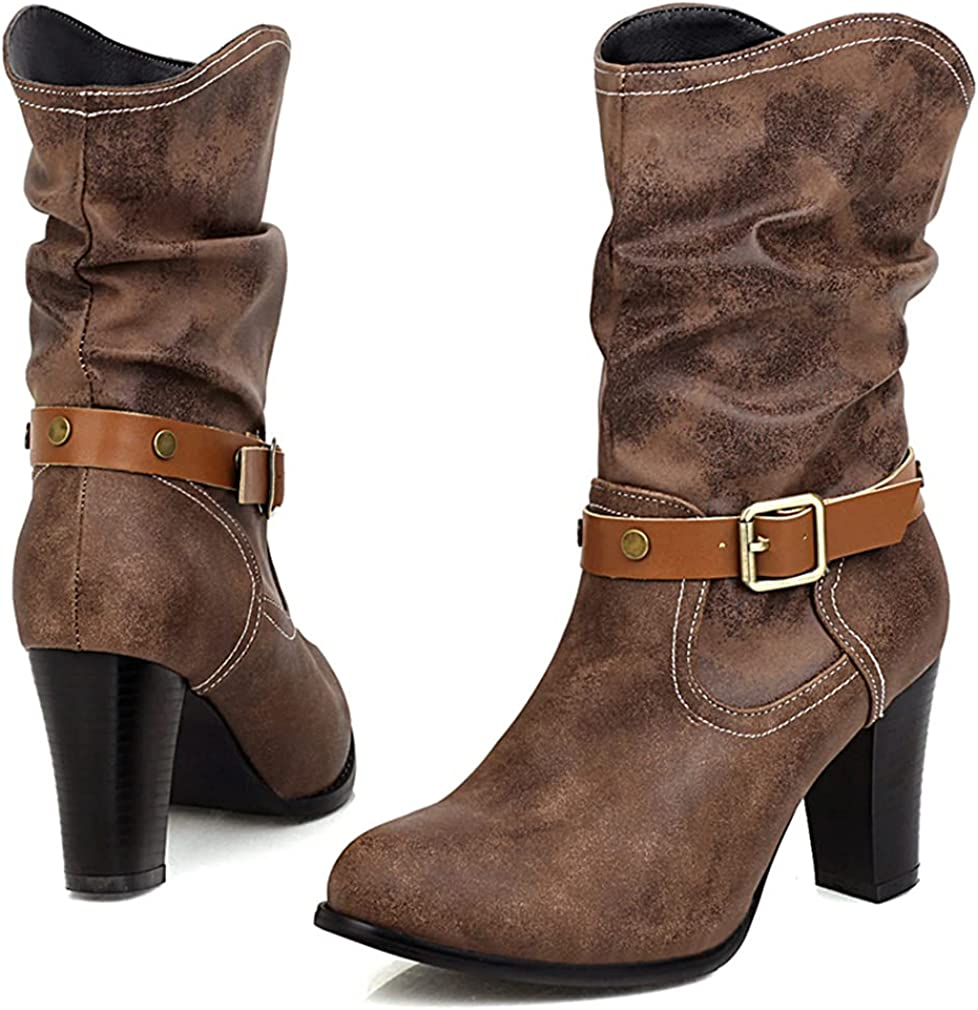 SO SIMPOK Womens Round Toe Pull On Cowgirl Cowboy Boots Retro Mid Chunky Heel Western Ankle Boots