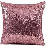 federe Cuscini,Fittingran Federa per guanciale in Paillettes Glitterati Tinta Unita (Rosa)
