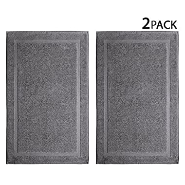 Cotton Craft 2 Pack Bath Mat - Charcoal - 100% Ringspun Cotton Tub Mat 21x34 - Oversized 21x34 Heavy - 2 Ply Construction - High Absorbent - Soft Underfoot Easy Care Machine Wash