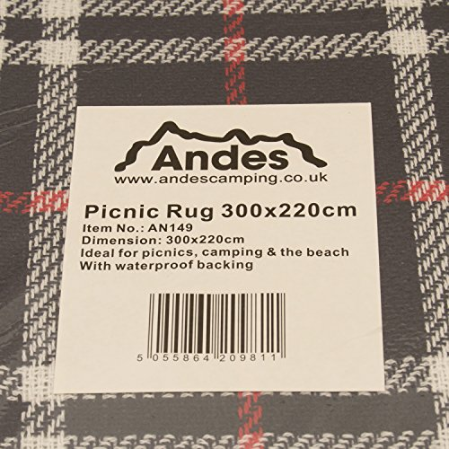 Andes XXL 300cm x 220cm Waterproof Backed Picnic Blanket / Rug For Travel, Outdoor, Camping