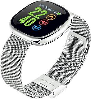 HOPELJ Pulsera Actividad, Pulsera Inteligente Impermeable IP67 con Pulsómetro Podómetro GPS Presión Arterial Reloj Inteligente para Mujer Hombre,Silver