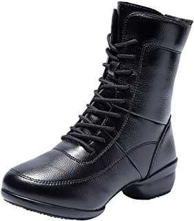 Women's Soft Round Toe Ankle Bootie Warm Lace Up Dance Boot Zipper Mid Calf Combat Boots