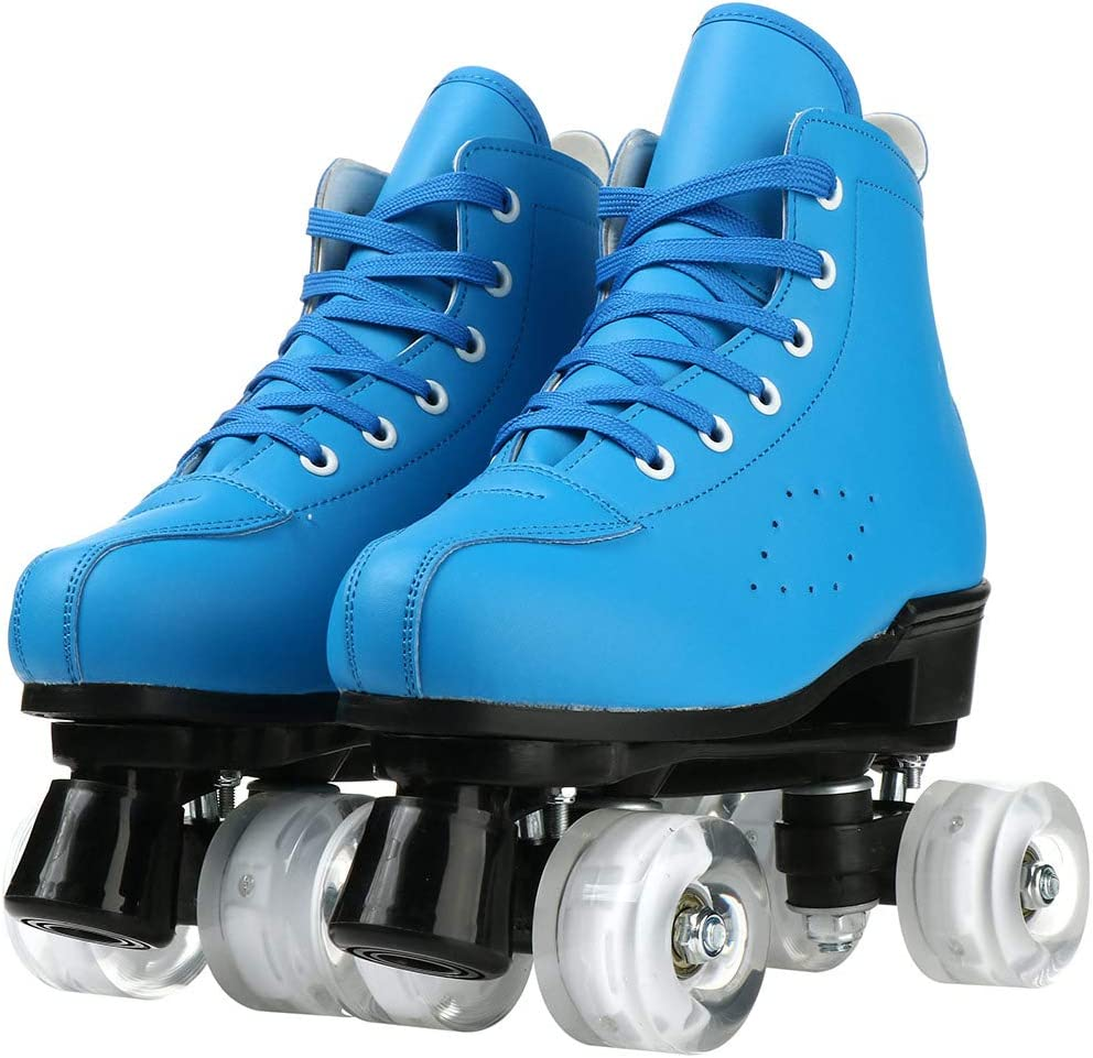 XUDREZ Womens Roller Skates PU Leather High-top Roller Skates Four-Wheel Roller Skates Shiny Roller Skates for Girls