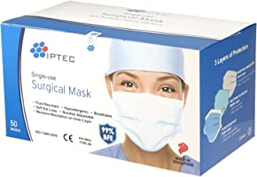 IPTEC Disposable Surgical Face Masks,50 Pcs, Single-use, Made in Singapore, CE-marked, Soft Ear Loop, Breathable, 3...