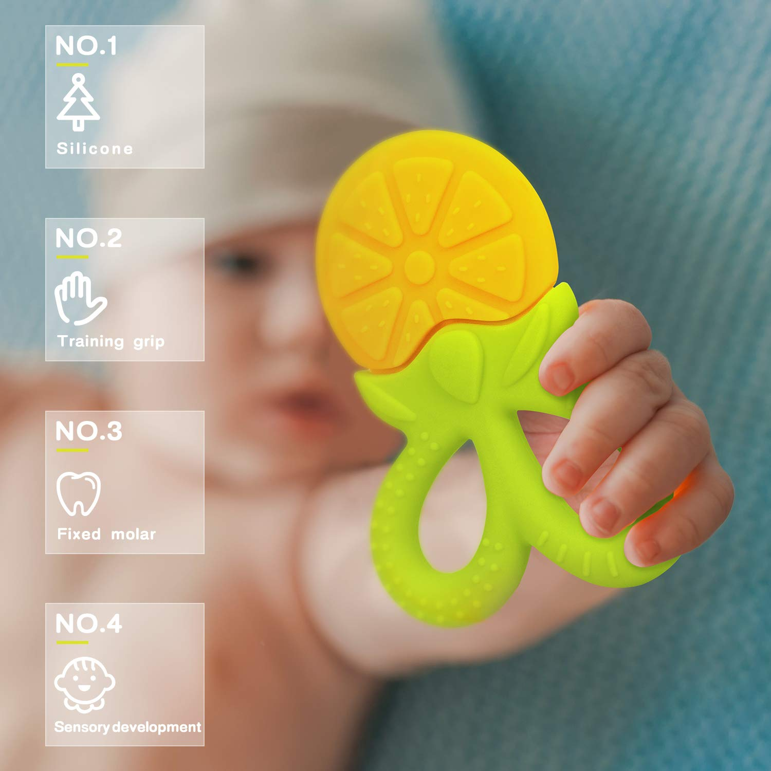 SHARE&CARE BPA Free Silicone Fruit Baby Teether Toy with Storage Case, for 3 Months Above Infant Sore Gums Pain Relief (5 Fruits)