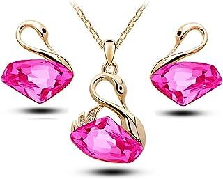 3pcs/Set Shiny Crystal Jewelry Set - Classic Swan Pendant Gift Necklace & Earring Set