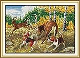 Kits de punto de cruz contados -Perro de caza y ciervo 30x40cm- Kit de bordado a mano con patrón de punto de cruz Diy Kit de bordado impreso Set decoración del hogar
