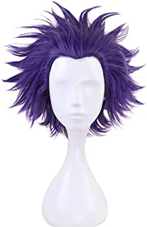 Angelaicos Unisex Short Purple Wig Layered Prestyle Synthetic Party Cosplay Wigs
