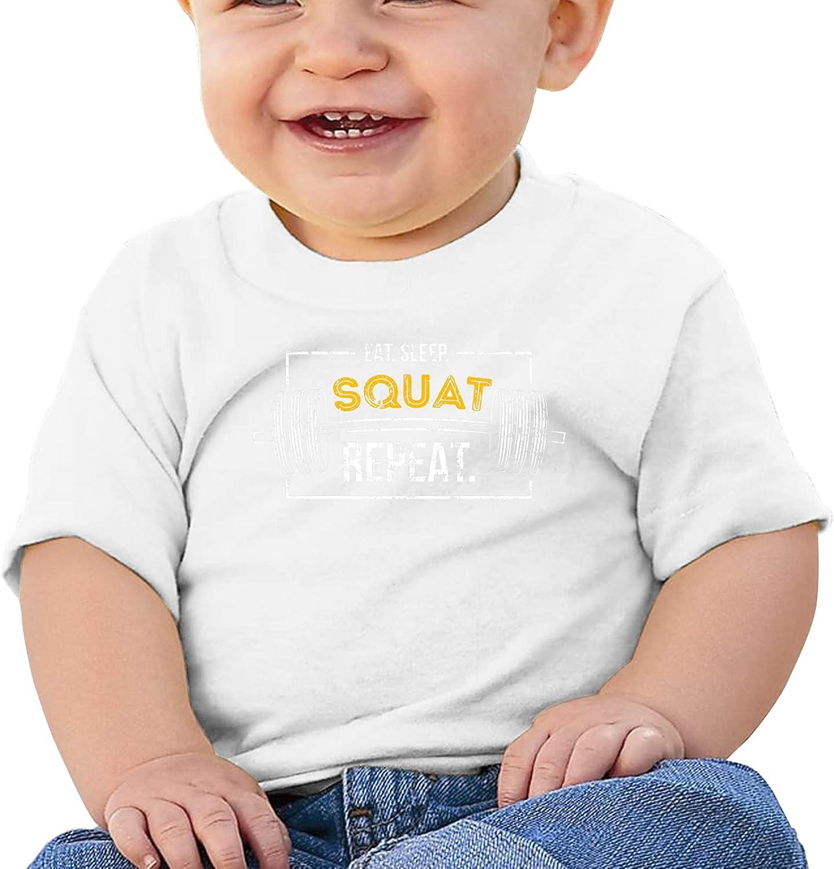 XKDIJIUJB Eat Sleep Squat Repeat Breathable Short Sleeve T-Shirts Boys and Girls Top Tee Short Sleeve Cotton Round Neck