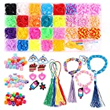 BeYumi 2500+Rainbow Bands Mega Refill Kit, Bracelet Maker Making Craft Loom Rubber Bands for Kids with 2400+ Rubber Loom Bands, 75 Beads, 48 S-Clips, 10 Charms, 5 Tassels, 2 Y Looms, 2 Crochet Hooks