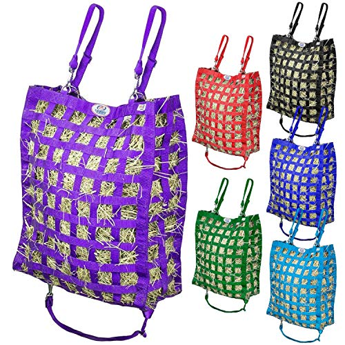 Derby Originals Super-Tough Patented Four Sided Slow Feed Horse Hay Bag with One Year Warranty, Purple