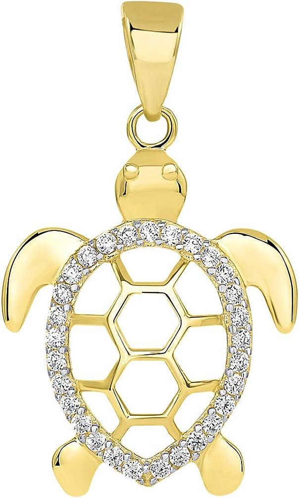 14k Yellow Gold CZ Open Shell Sea Turtle Good Luck Pendant