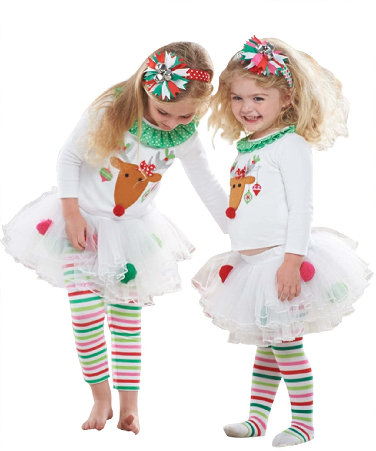 2Pcs Kids Baby Girls Christmas Deer Print T-shirt Tops+Striped Tulle Skirts Pants Clothes Outfits