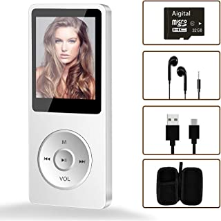 Portable MP3 Player, Aigital Mini Music Player with 32GB TF Card and Earphones, Expend Memory to 128GB, Multi-Functional a...