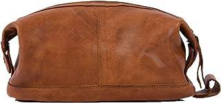 KomalC Genuine Unisex Vintage Vanity Dopp Kit - Travel Toiletry Bag Shaving for Men and Women (Light Tan)