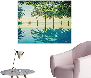 Anzhutwelve Landscape Wall Picture Decoration Pool with Trees on The Surface No Filter Region Hot Spot Climate on Earth Theme The Office Poster Green Blue W28 xL20