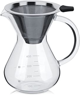 Coffee Maker Pot Glass Hand Drip with Stainless Steel Permanent Filter with Scale for Home 400ML