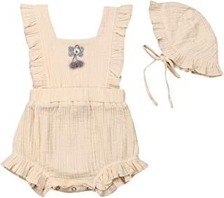 Peaccch Newborn Baby Girl Romper 0-2T, Ruffled Sleeveless Cotton Linen Bodysuit with Hat Clothes Outfits Set
