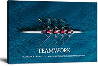 Inspirational Canvas Wall Art Motivational Posters Success Teamwork Painting Rowing Team on Blue Ocean Pictures Positive O...