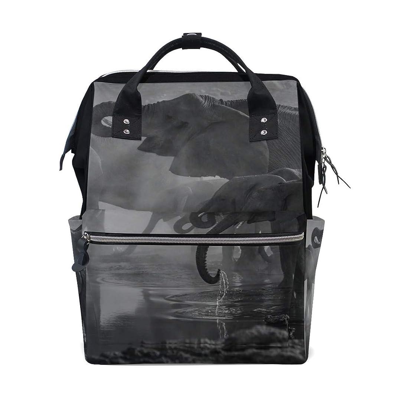 Backpack Black White View Elephants School Rucksack Diaper Bags Travel Shoulder Large Capacity Bookbag for Women Men