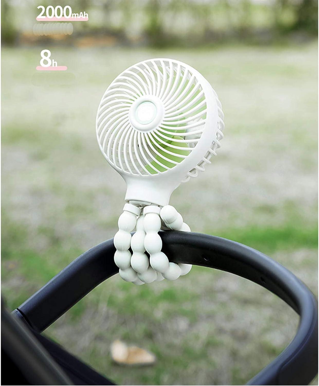 TX Stroller Fan Portable Fan Desk Fan Small Fan Personal Fan Mini Fan Handheld Fan with Flexible Tripod Rechargeable Fan for Office Room Car Traveling BBQ Gym Camping (white)