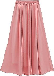 Laorchid Women's Elasticated Waist Maxi Long Summer Skirt Pleated Skirt