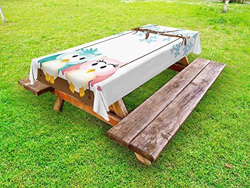 ABAKUHAUS Kinderkamer Tafelkleed voor Buitengebruik, Uilen in Liefde op Schommeling, Decoratief Wasbaar Tafelkleed voor Picknicktafel, 58 x 120 cm, Pale Pink Pale Blue