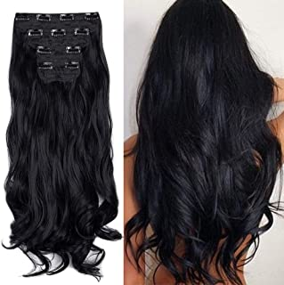 """18"""" Curly Wavy 4 Pieces Set Thick Clip in on Synthetic Single Weft Hair Extensions Hairpieces for Women Dark Black"""